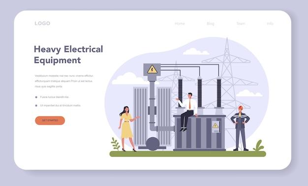 Banner ou página de destino da indústria de componentes e equipamentos elétricos