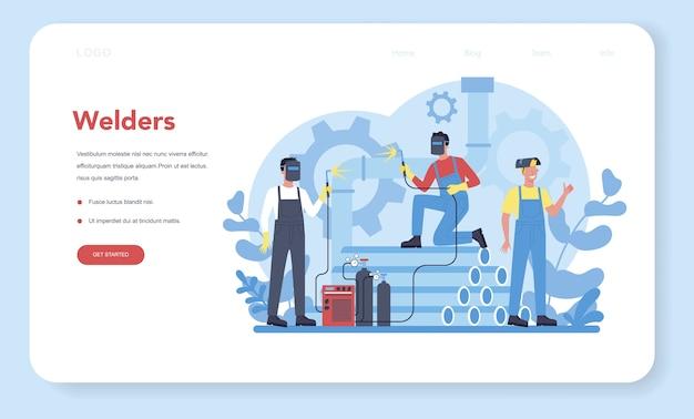 Banner ou página de destino do conceito de serviço de soldagem e soldagem