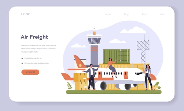 Banner ou página de destino do setor de logística e frete aéreo