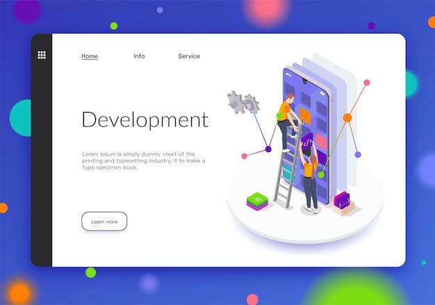 Banner ou página de destino isométrica de desenvolvimento de codificação de programação
