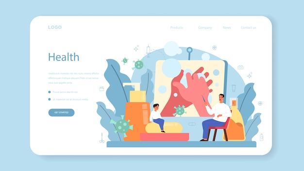 Banner ou página de destino para aulas de estilo de vida saudável