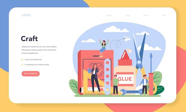 Banner ou página inicial da web de educação para escolas de arte