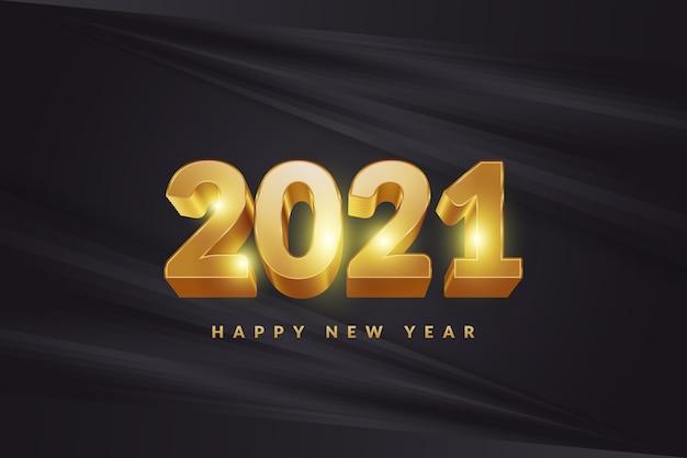 Banner ou pôster de feliz ano novo de 2021 com números dourados 3d em um fundo preto elegante