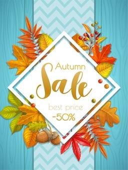 Banner ou pôster de venda de outono