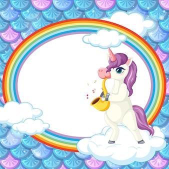 Banner oval de arco-íris com personagem de desenho animado de unicórnio em escamas de peixes arco-íris
