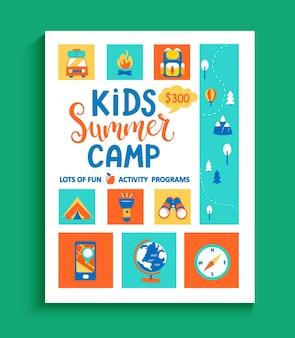 Banner para acampamento de verão infantil, conceito com letras desenhadas à mão