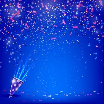 Banner para as suas férias com confetes e flâmulas sobre um fundo azul.