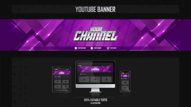 Banner para canal do youtube com conceito fitness