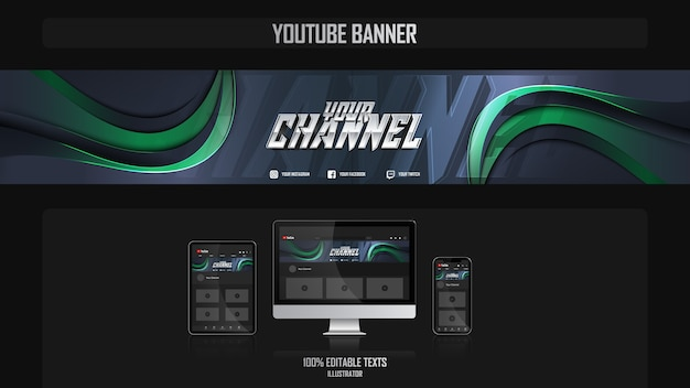 Banner para canal do youtube com conceito gamer