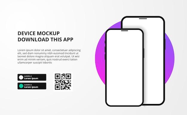 Banner para download de aplicativo para celular, dispositivo 3d duplo smartphone.