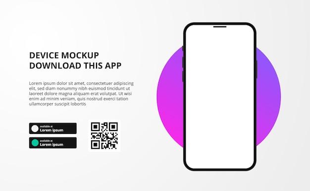 Banner para download de aplicativo para celular, dispositivo de smartphone 3d, botões de download com modelo de código qr de digitalização.