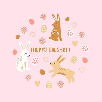 Banner para impressão de primavera feliz páscoa dos desenhos animados com ovos, coelhos.