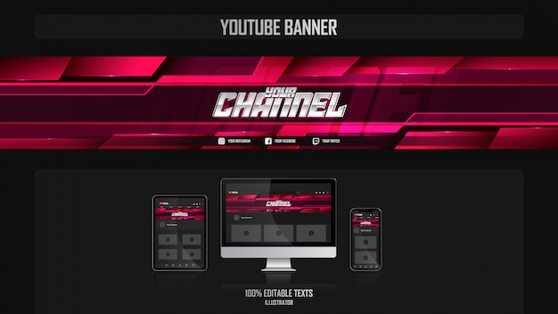 Banner para o canal de mídia social com conceito aeróbico