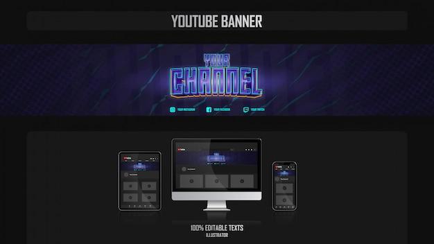 Banner para o canal de mídia social com conceito de jogador