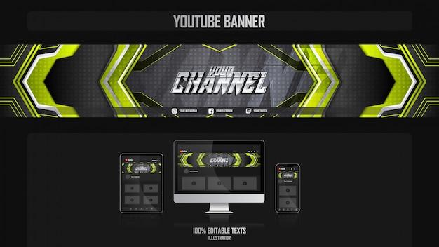 Banner para o canal de mídia social com o conceito de tecnologia