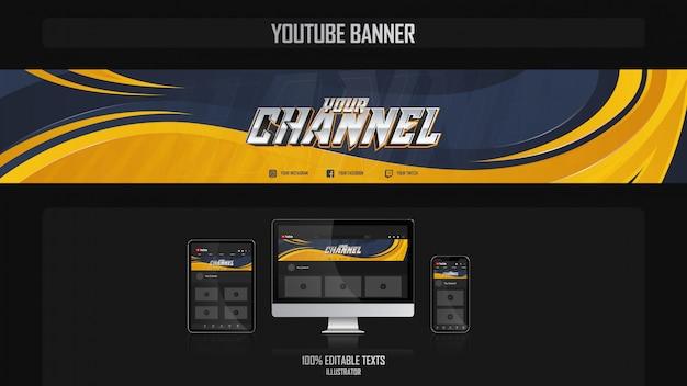 Banner para o canal do youtube com o conceito de esporte