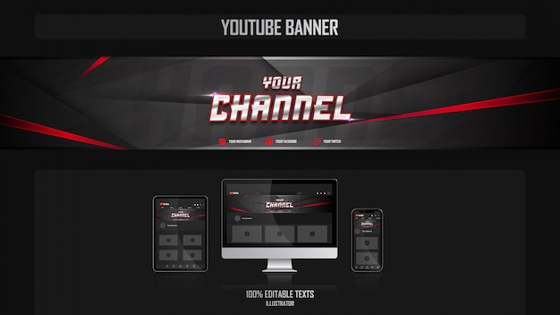 Banner para o canal do youtube com o conceito gamer