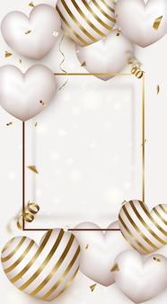 Banner para o dia da mulher ou dia das mães. cartão de dia dos namorados com corações de ar bonito.