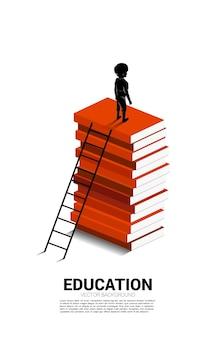 Banner para poder de conhecimento. silhueta de menino no topo da pilha de livros com escada.