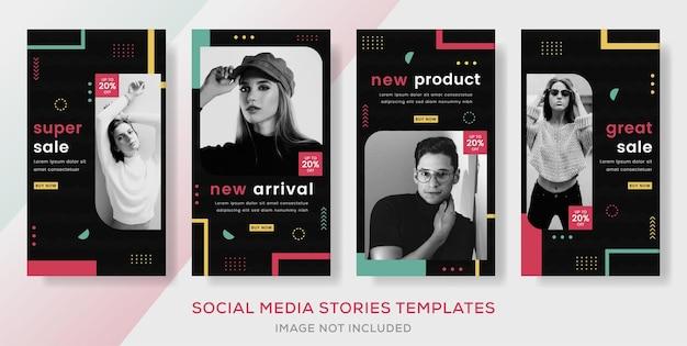 Banner para postagem de modelo de histórias de venda de moda