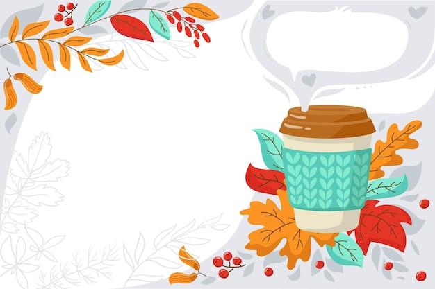 Banner para promoções cafeteria panfleto anunciando folhas vermelhas de outono e uma xícara de café