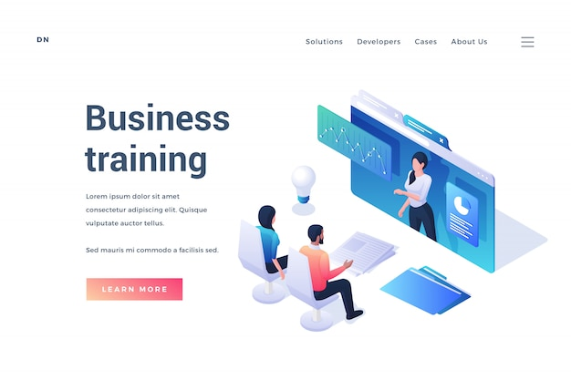 Banner para treinamento de negócios online via recurso da internet