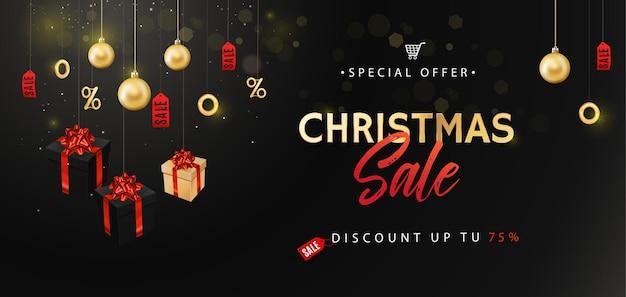Banner para venda de natal. texto caligráfico com caixas de presente, bolas de glitter dourado e confetes.