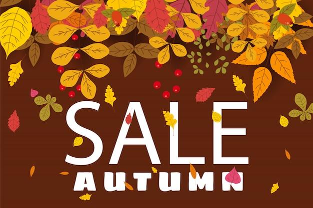 Banner para venda de outono, design com folhas caindo