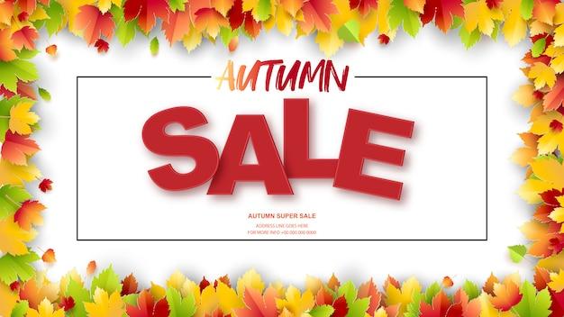 Banner para venda de outono em moldura de folhas. ilustração vetorial