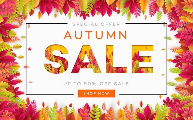 Banner para venda de outono em moldura de folhas