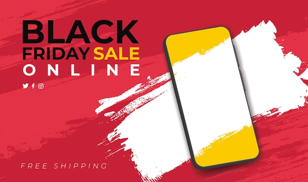 Banner para venda online da black friday com smarthphone