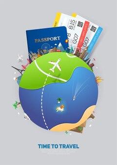 Banner para viagens e turismo com passaporte e ingressos para marcos famosos do planeta terra abstrato