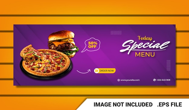 Banner pizza fan page template capa do facebook