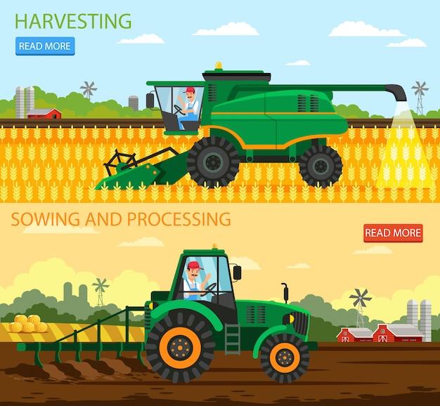 Banner plana, colheita de sementeira e conjunto de processamento.