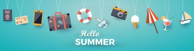 Banner plana de elementos de verão