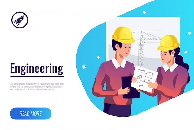 Banner plana de engenharia