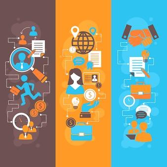 Banner plana de entrevista de emprego definido com composição de elementos