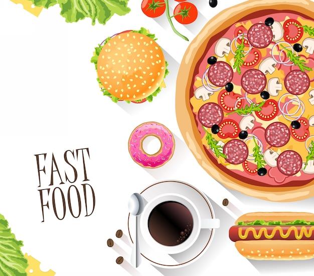 Banner plana de fast-food para sites de decoração, folhas e outros
