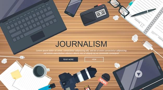 Banner plana de jornalismo
