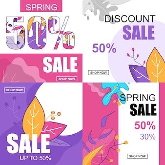 Banner plana definida venda de desconto de primavera 50 por cento.