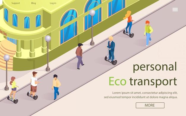 Banner plana é escrito eco transporte pessoal.