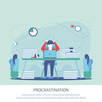 Banner plana é escrito procrastinação no trabalho.