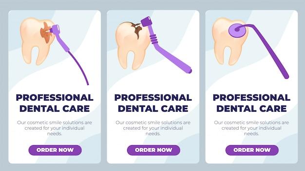 Banner plana é escrito profissional de atendimento odontológico.