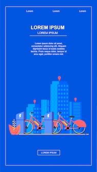 Banner plana vertical. serviço de aluguel de bicicletas na cidade.