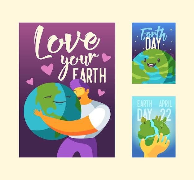 Banner planeta verde feliz
