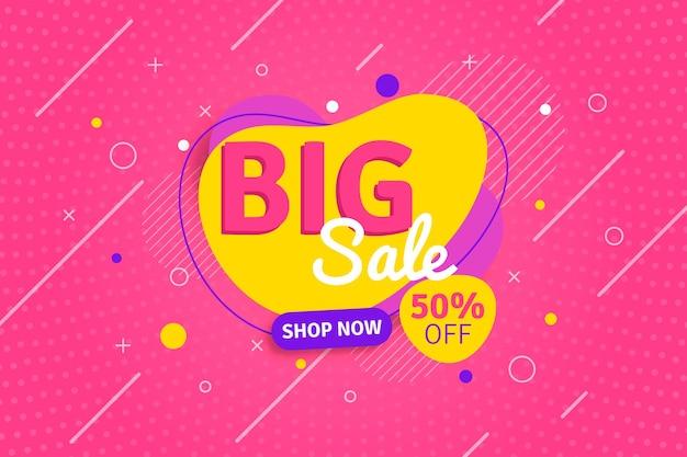Banner plano abstrato de grande venda