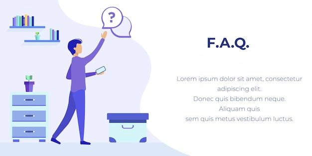 Banner plano de publicidade de serviço de perguntas frequentes para celular Vetor Premium