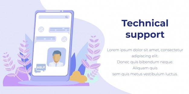 Banner plano de publicidade de suporte técnico para dispositivos móveis