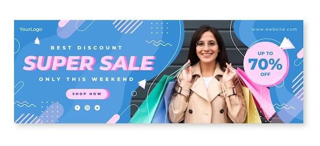 Banner plano de super venda com foto