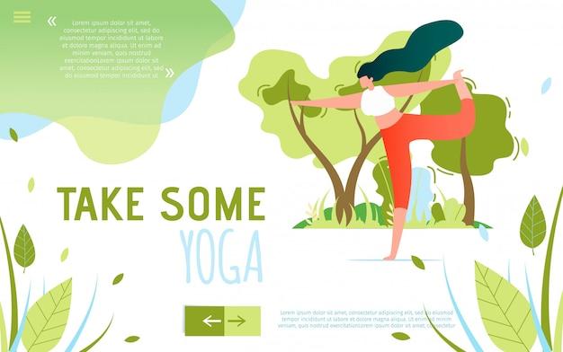 Banner plano de texto motivando a tomar um pouco de yoga